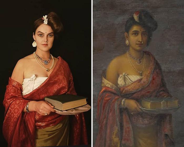 """Raja Ravi Varma """"La Maharani De Travancore"""" (1887)"""