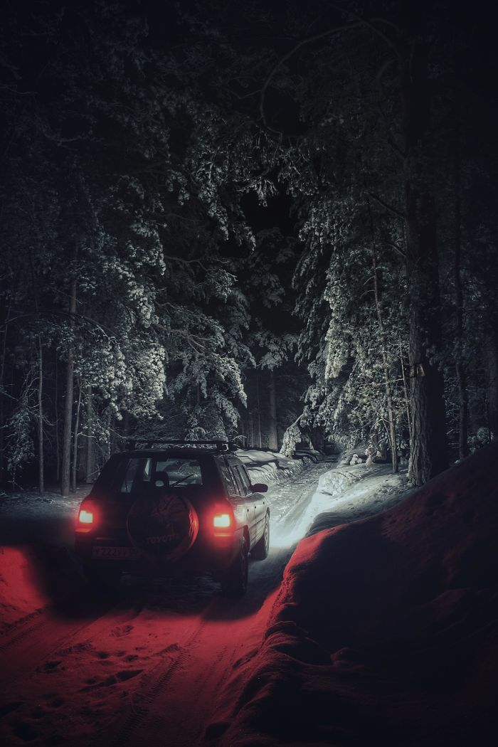I Drove Into A Deep Winter Forest At Night, And It Looks Like In Some Stephen King Story