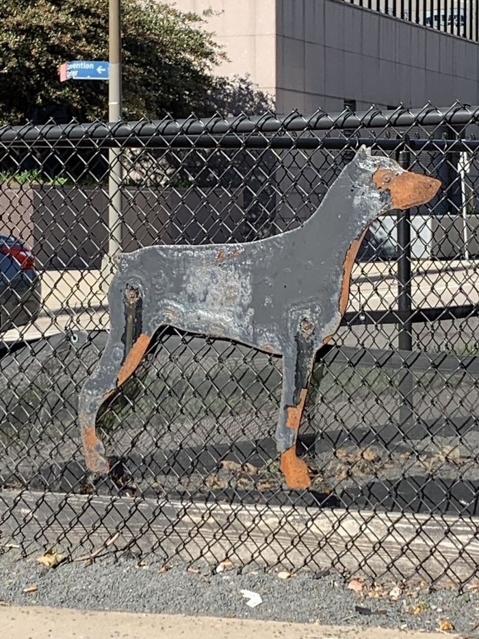This Doberman Metal Sculpture Rusted To Look Like An Actual Doberman