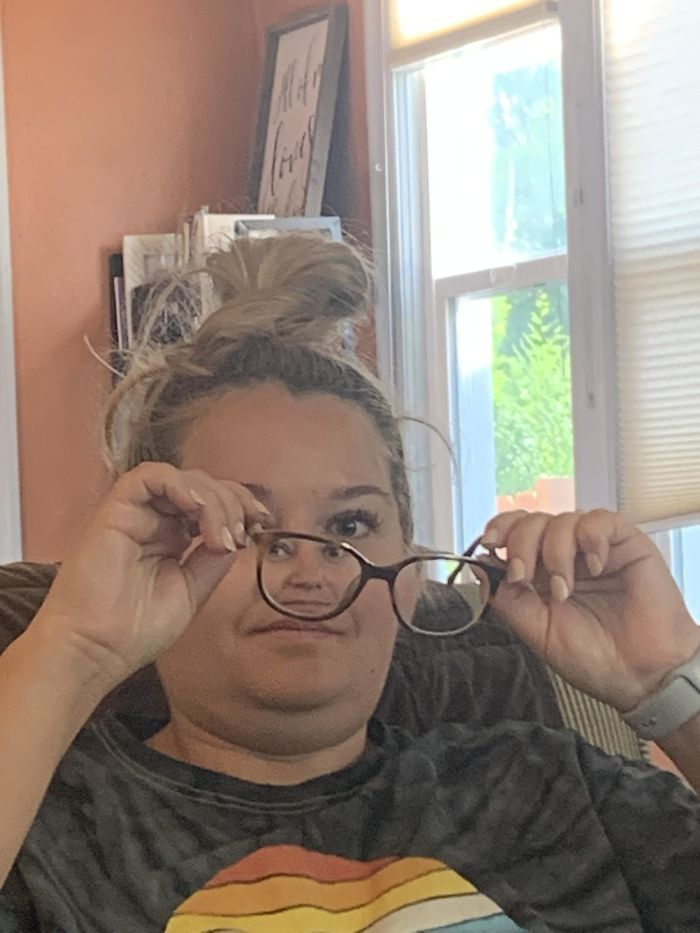 My Husband Took This Picture Of Me This Morning While I Was Trying To Clean My Glasses