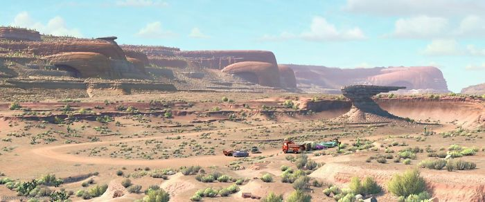 "In ""Cars"" The Canyons Are All Old Cars And Hood Ornaments"