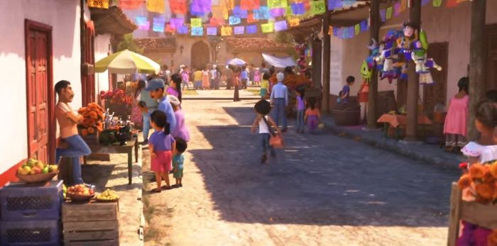 In Coco (2017), A Collection Of Piñatas Of Other Pixar Characters Can Be Seen Hanging From A Building