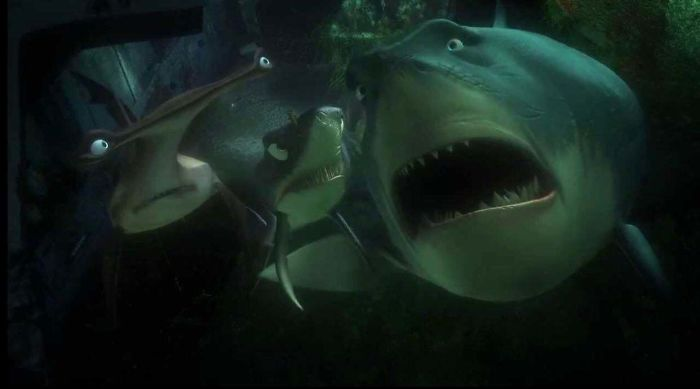 """In Finding Nemo, Bruce The Shark Starts Crying When Marlin Starts Talking About Nemo, Saying """"I Never Knew My Father"""". Male Sharks Mate With The Female Then Leave, So Baby Sharks Never Actually Meet Their Father"""