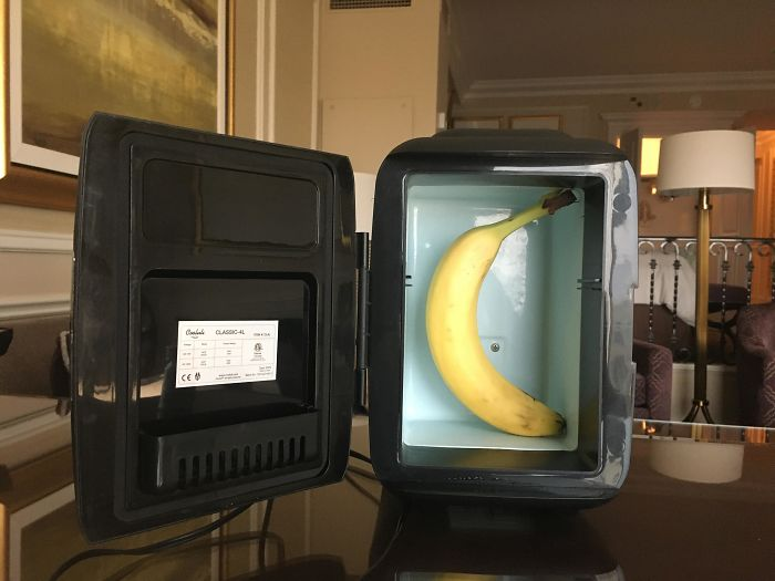 Apparently Our Hotel Took Our Request For A Mini-Fridge Very Literally. Banana For Scale