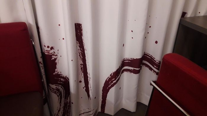 This Hotels Curtains Look Like There Is Blood On Them