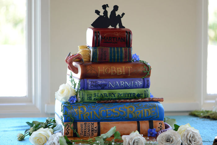 Literary/ Book-Themed Wedding Cake