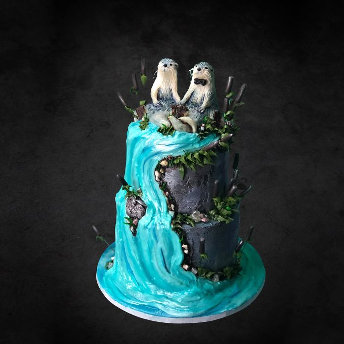 Otter Wedding Cake I Made Today. Chocolate Blackberry Flavored. With White Chocolate Otters