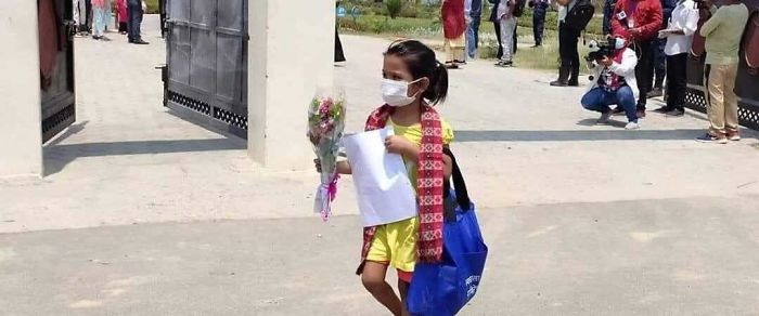 7 Year Old Girl In Nepal Who Got Discharged After Beating Covid-19