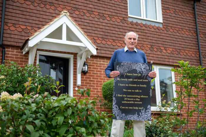 75 Y.O. Man Puts Poster In Window Asking For Friends After Wife Dies