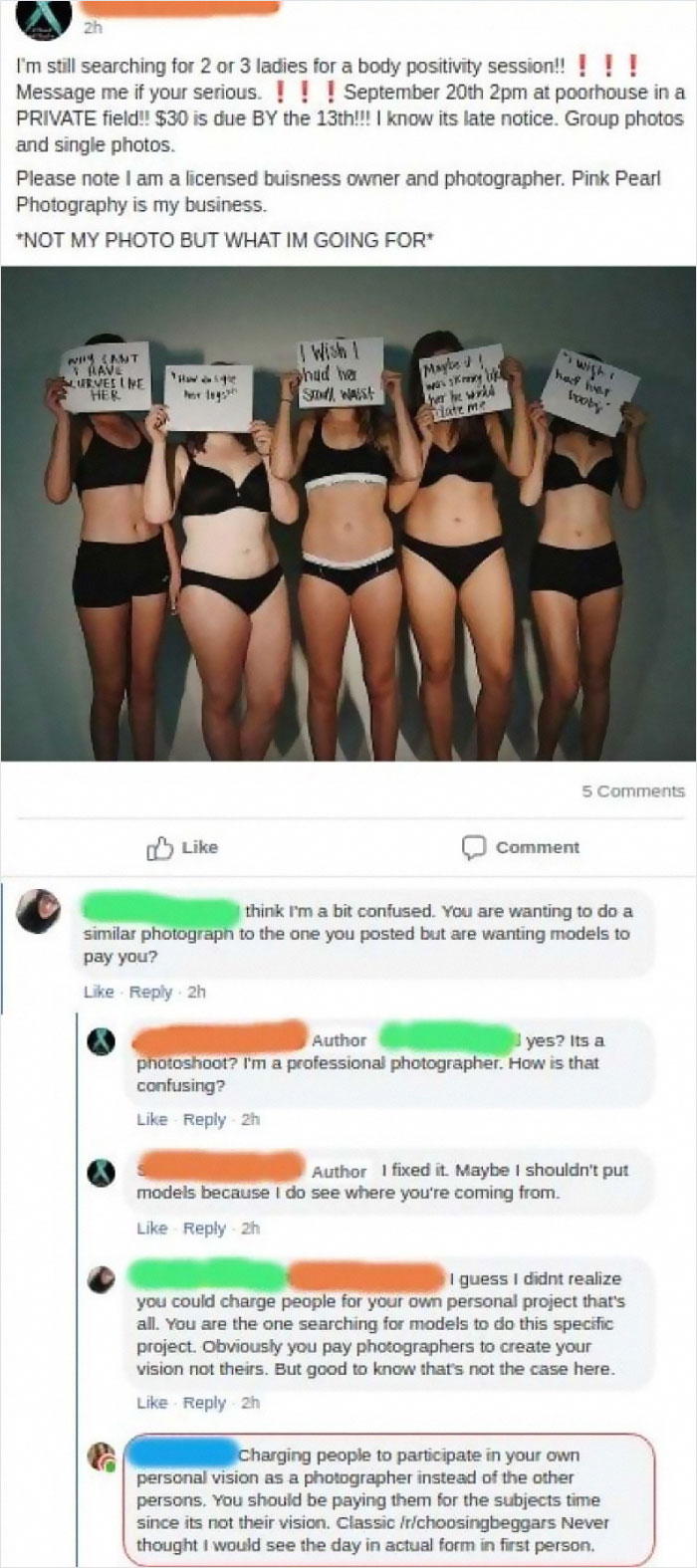 "Professional Photographer Wants Local ""Models"" To Pay Her To Fulfill Her Own Vision"