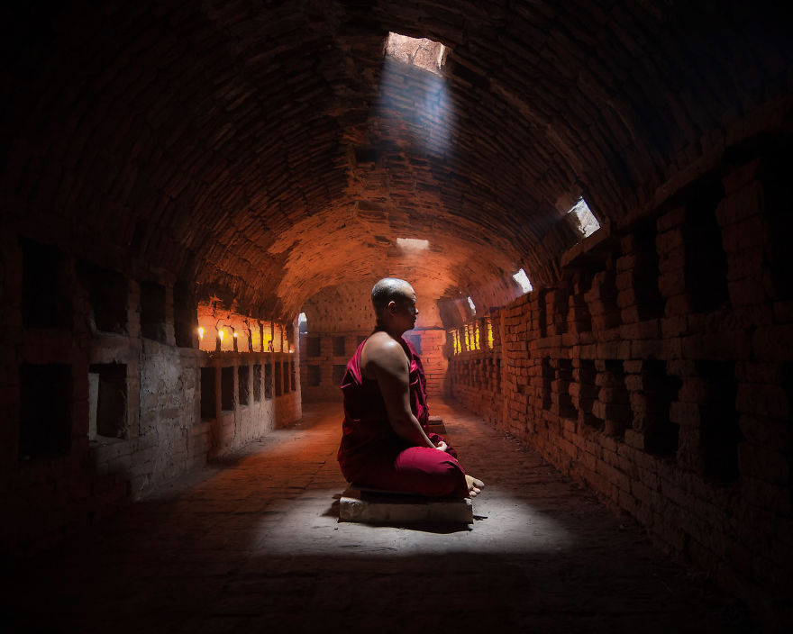 A Master Monk Finds Peace In An Ancient Meditating Chamber