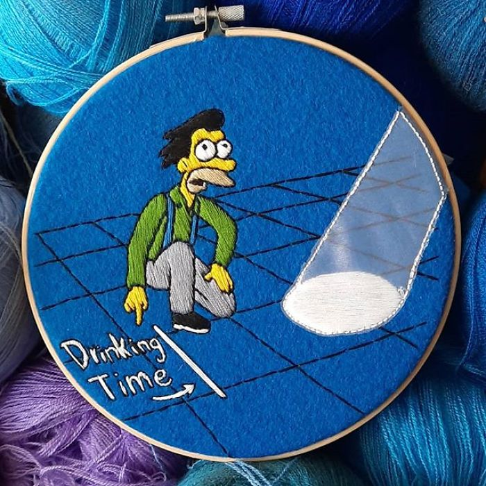 I Recreate My Favorite Simpsons Scenes With Embroidery