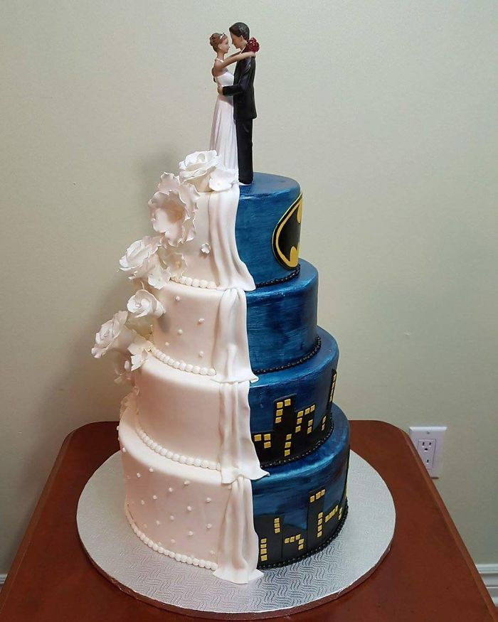 Half Batman Half Traditional Wedding Cake