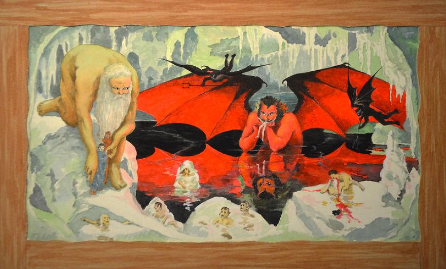 "Unknown Artist, American, Watercolor Depicting ""9th Circle Treachery"" Of Dante's Inferno, Circa 1940s"