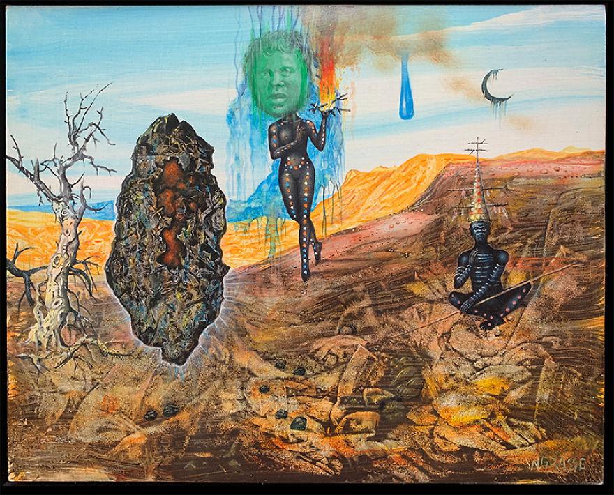 "Wolfgang Grasse (1930 – 2008, German/Australian) ""Firestone"" Acrylic On Panel, 2004"