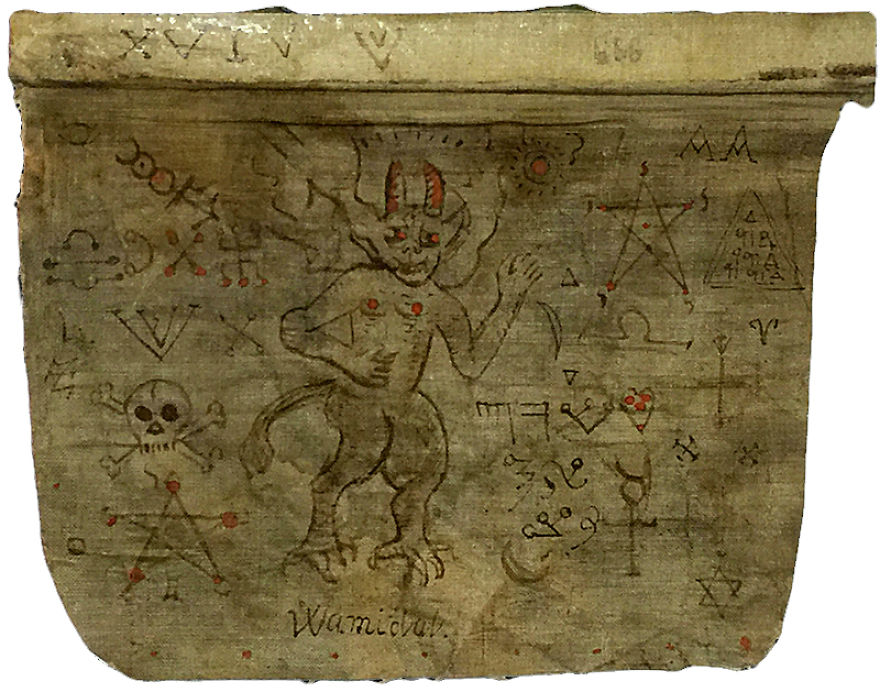Grimoire Page By An Unknown Hand, British, Possibly 19th Century, Ink And Unknown Substance On Cloth