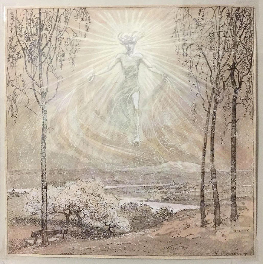 """Fritz Gareis (1872-1925) """"The Light"""" Ink And Watercolor, Circa 1920"""
