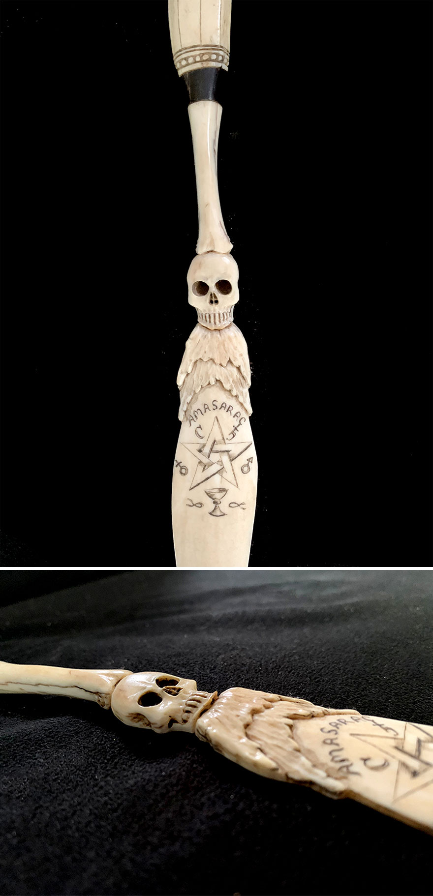 Scrimshaw Magic Wand Made In Early 1800s, Boston Area, Unknown Maker