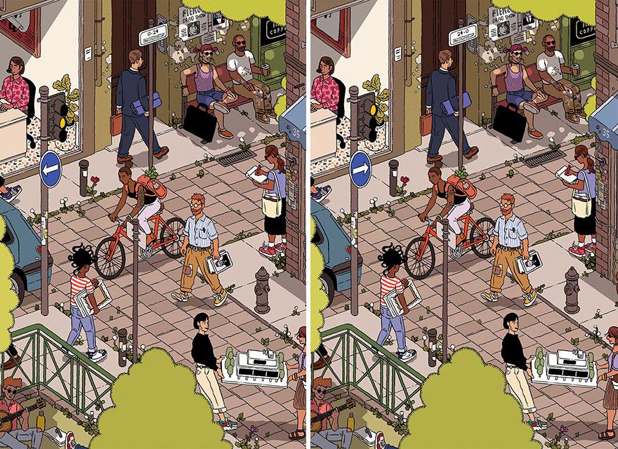 "Illustration ""Courier"" By Ilya Milstein (18 Differences)"