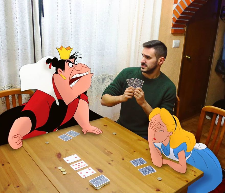 This Guy Is Interacting On Adventures With Cartoon Characters And The Result Is Really Fun