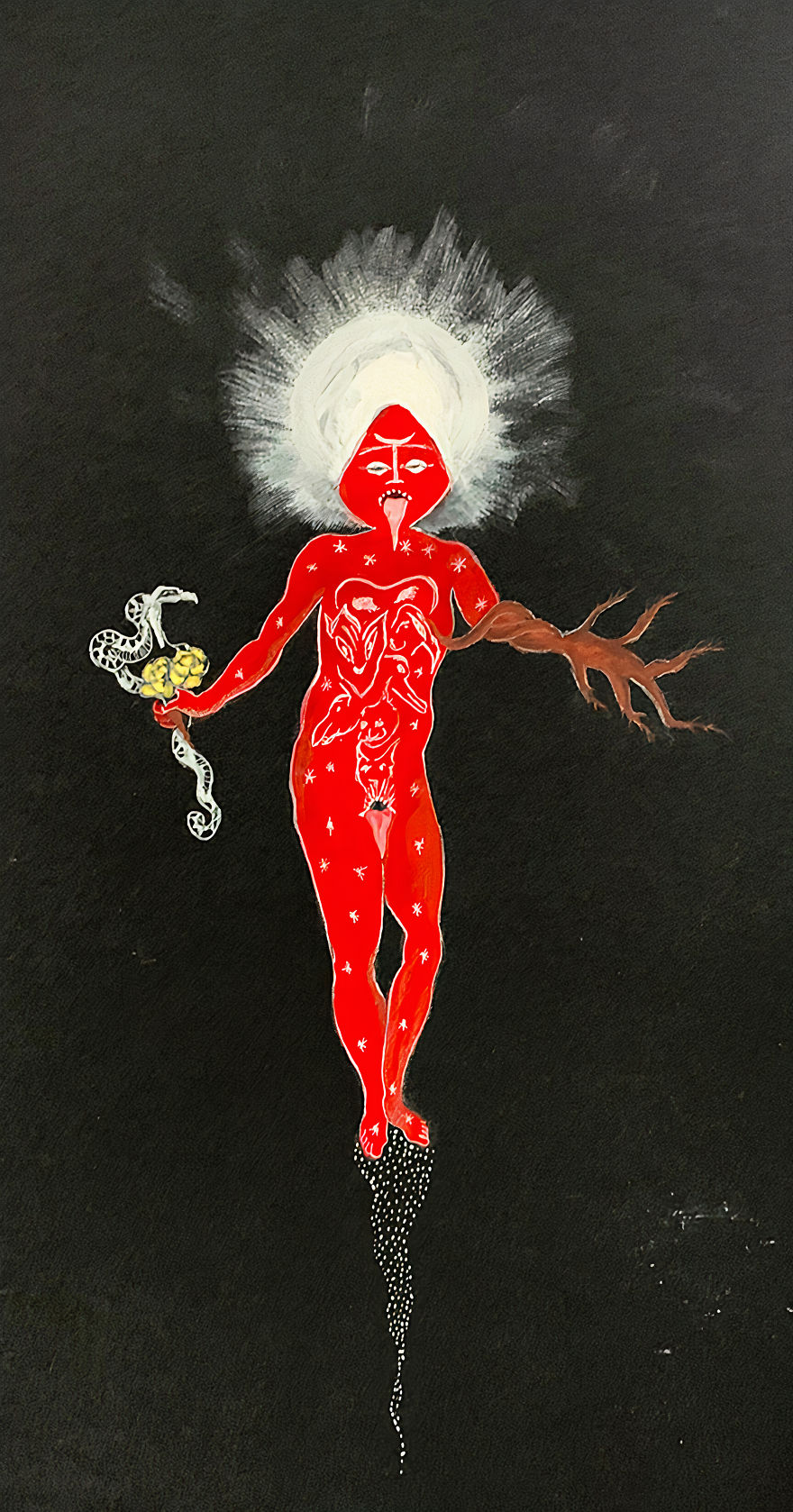 """Dolorosa De La Cruz """"Invocation Of La Reina Roja 2"""" Gouache Pencil And Gold Ink, 2014"""