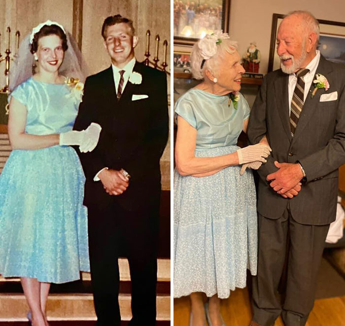 Same Wedding Outfits 60 Years Later