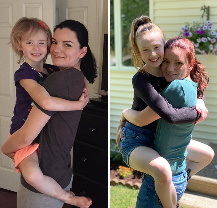 My Wife And Daughter The Day Our Daughter Moved In For Foster Care vs. Today, Five Years Later, Two Years Post Adoption
