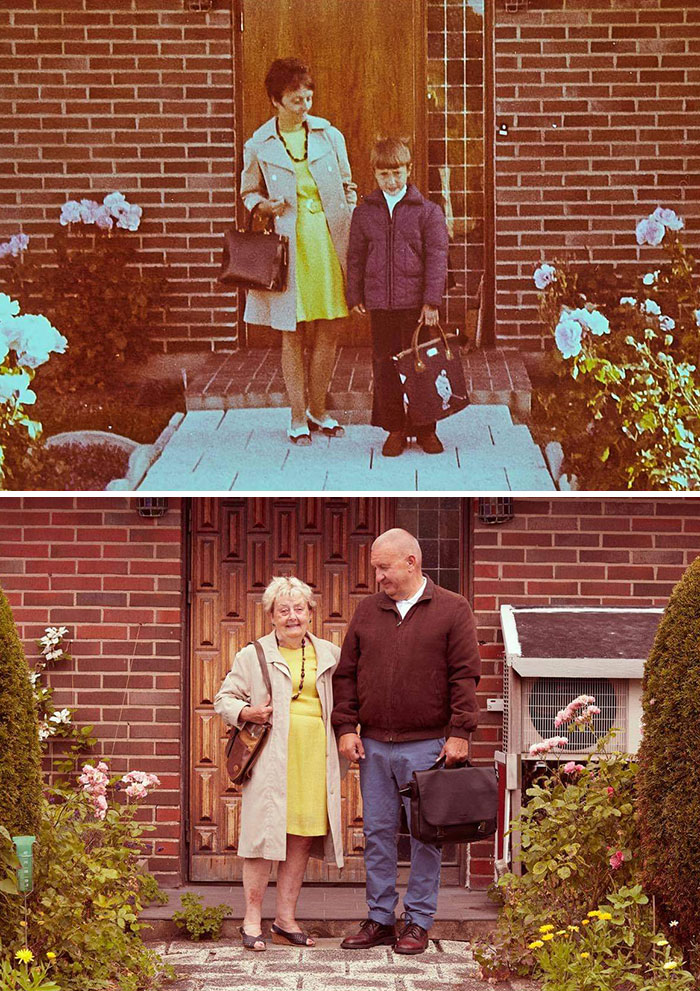 My Dad's First Day At School In The 70s, And Now 50 Years Later