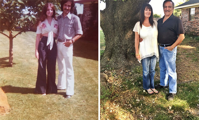 My Parents By Their Tree In 1975 And Now In 2016