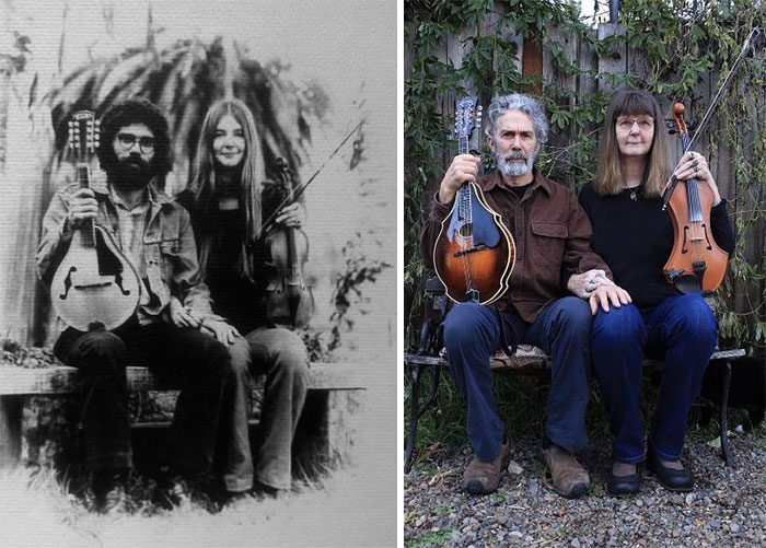 My Parents In 1975 And Again In 2020. They've Been Married And Playing Music Together For Over 45 Years Now!