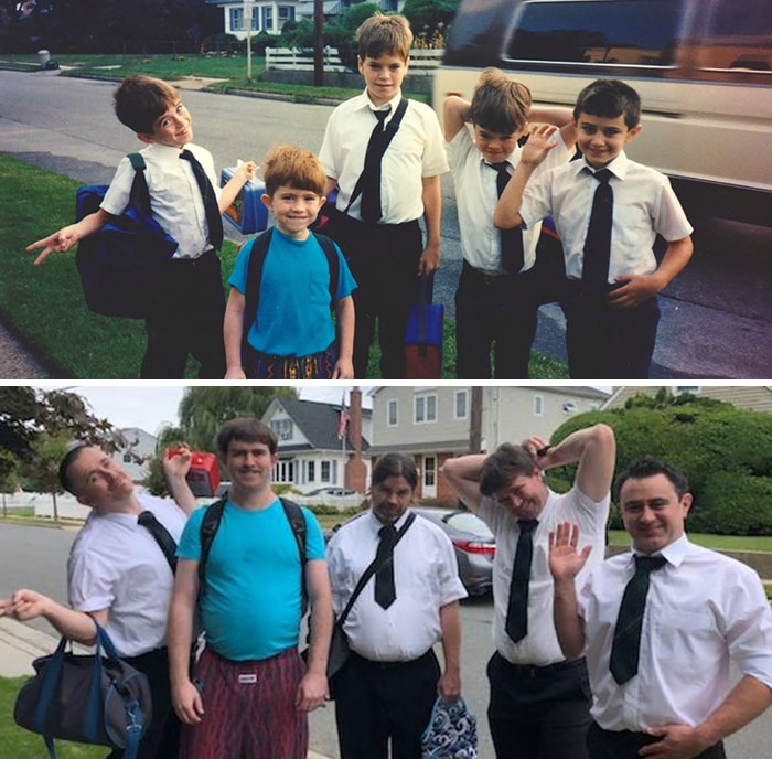For My Mom's 60th Birthday, My Brothers, My Cousin And I Recreated A Photo From My First Day Of Kindergarten