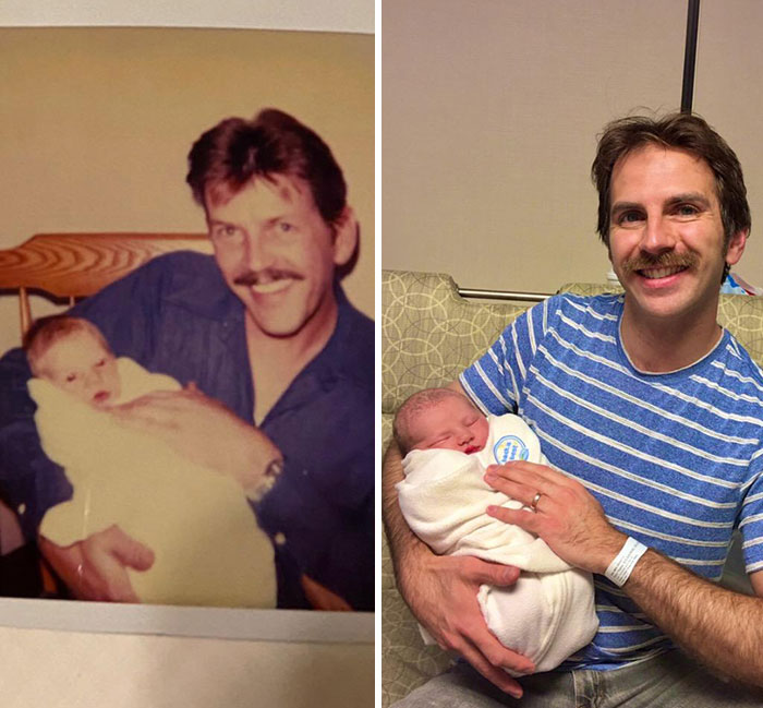 My Dad Holding Me As A Baby vs. Me Holding My Newborn Son