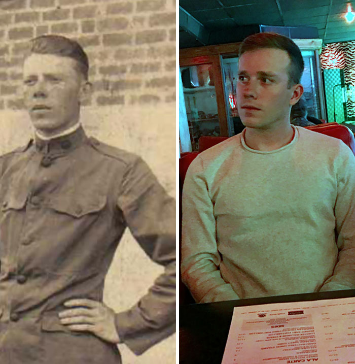 I Was Digging Around On Ancestry And Found A Photo Of My Husband's Great-Grandfather From World War I. I Had To Do A Side-By-Side Comparison