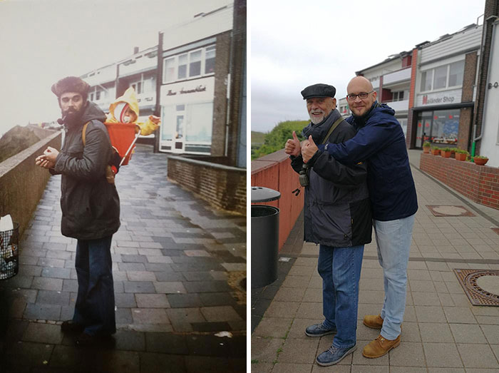 My Dad And Me At The Exact Same Spot On The Isle Of Heligoland 1977 And 2018