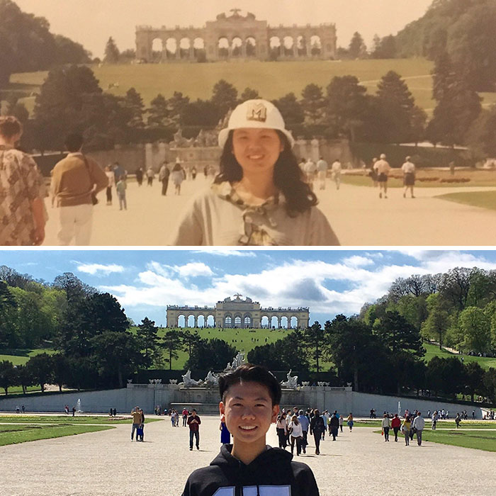 I Looked Through My Mom's Photo Album To Find That She Took This Picture At Schönbrunn Palace During A College Trip In 1991. I Took The Same Picture In 2017