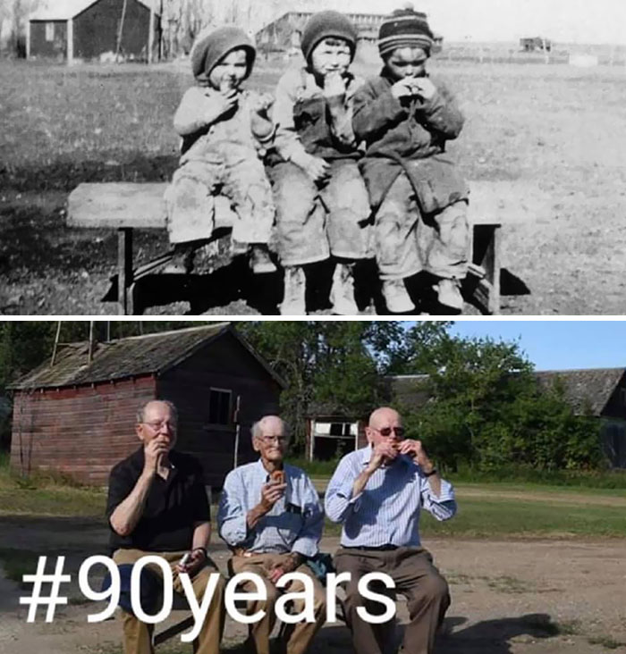 My Grandpa's Three Surviving Brothers Coming Together 90 Years Later On The Same Farm, With The Same Exact Bench