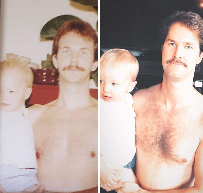 Dad Holding Me Circa 1987. Me Holding My Son 2020