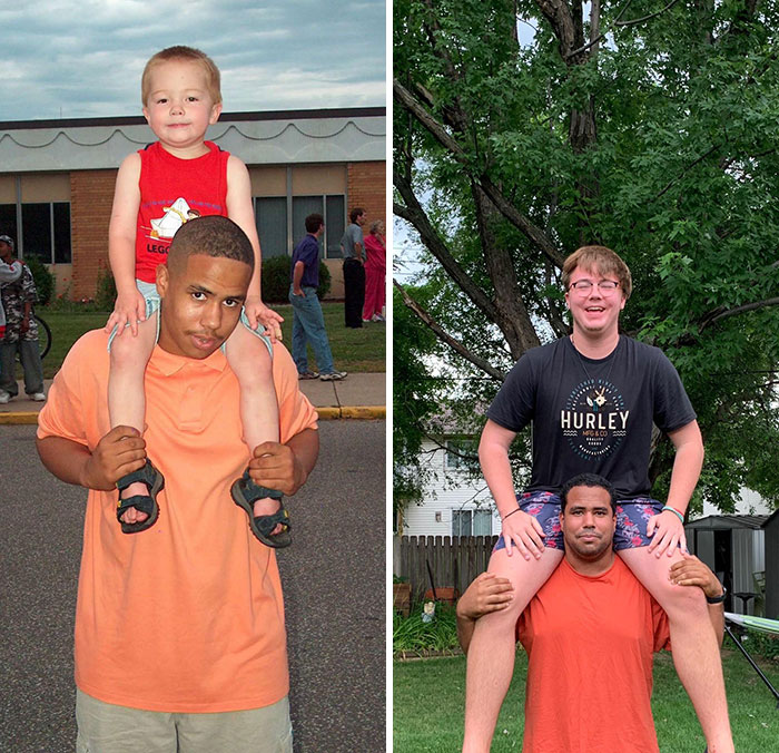 Me And My Cousin. 2005 And 2020. It Was Much More Difficult To Take The Picture Now