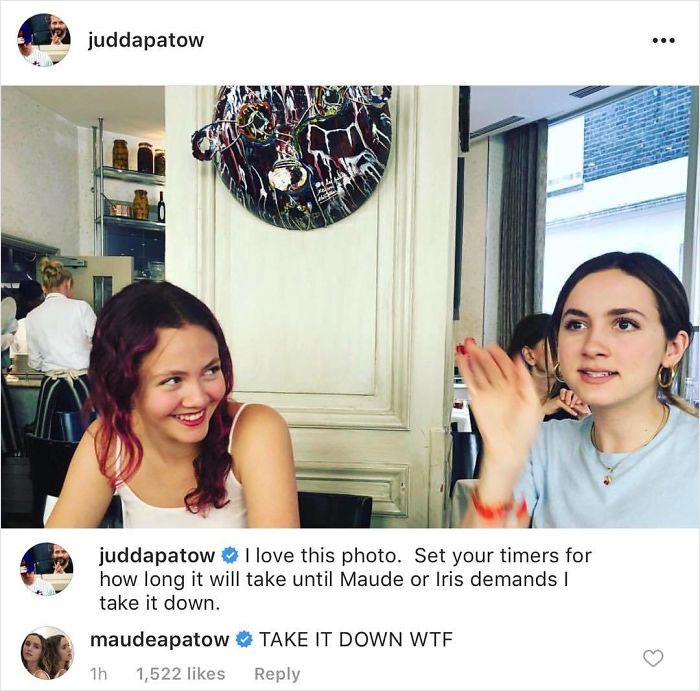 When Judd Apatow Trolled His Daughters Maude And Iris By Posting Their Photo Online