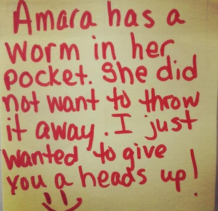 """Amara Has A Worm In Her Pocket. She Did Not Want To Throw It Away. I Just Wanted To Give You A Heads Up"""