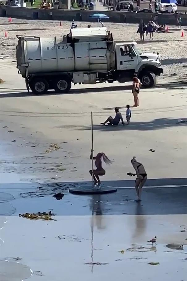 Pole. Glass High Heels. Low Tide. Garbage Truck. Yep, This Is A Perfect Video