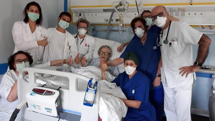 The First Recovered Covid-19 Patient In The Province Of Modena (Italy). She's A 95 Year Old Grandmother