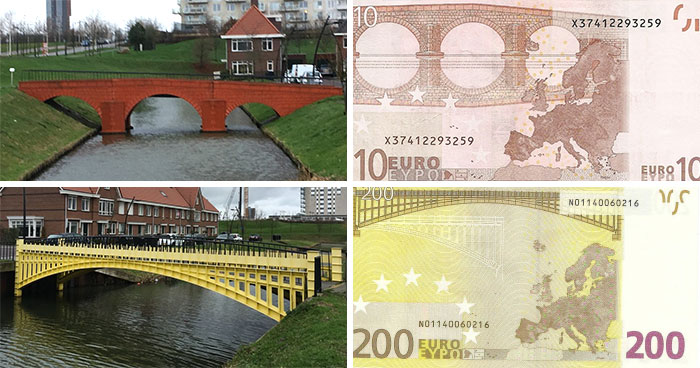 Euros Bills Were Intentionally Drawn Not To Represent Real Bridges, So This Guy Built Them One By One On This River