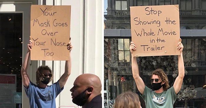 Dude Keeps Protesting Annoying Everyday Things With Funny Signs