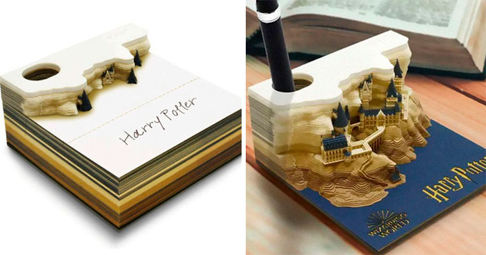 Perfect Gift For Every Harry Potter Fan: This Memo Pad Reveals Hogwarts Castle The More You Peel It Away