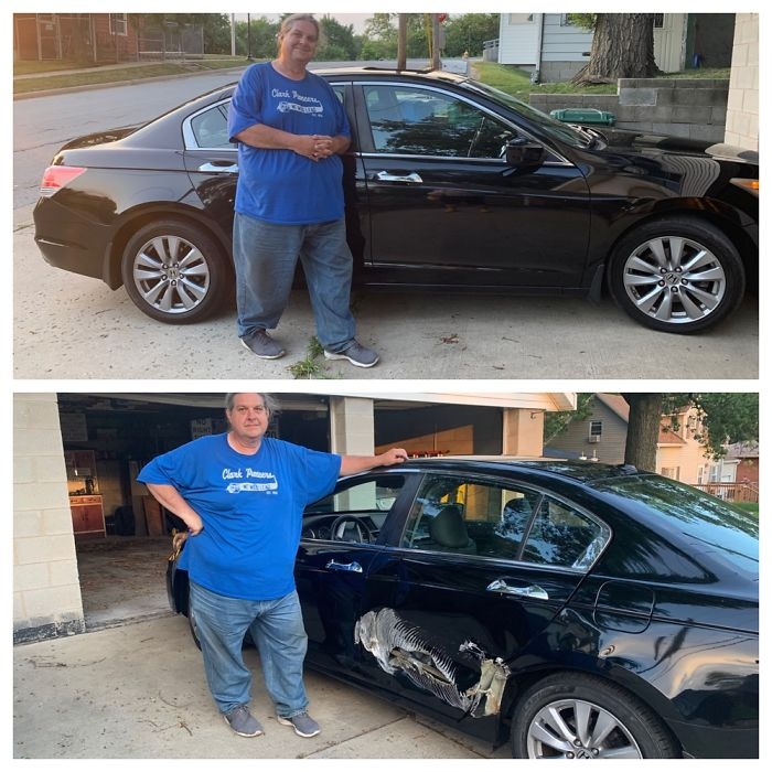 My Husbands New Car. How It Looked At Purchase (1st Pic) And After 1/4 Mile On The Highway Home