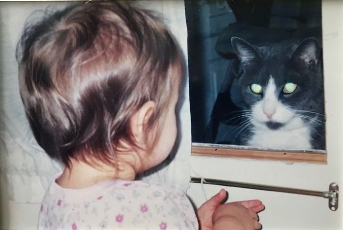 I Have So Many, But I Picked This One For Sentimental Reasons. My Daughter On The Right Is Now 18. My Handsome Tuxedo Boy On The Right Was My First Cat As An Adult, And He Loved His Human Siblings