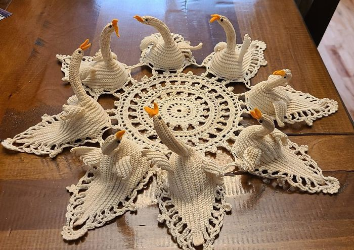 Handmade Swan Centerpiece From A Giveaway Group Near Me. If Anyone Would Appreciate This It's You Bunch Of Lovely Weirdos