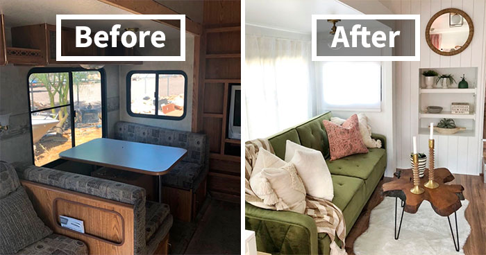 """30 Pics Of Old Ugly RVs Redesigned Into Beautiful Tiny Homes By """"RV Fixer Upper"""""""