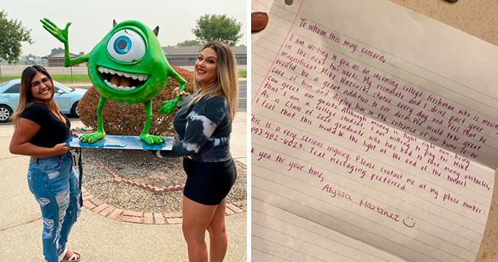 'He Will Be Mine': College Student Writes A Heartfelt Letter To A Guy Who Has A Mike Wazowski Statue In His Front Yard, He Gives It As A Gift
